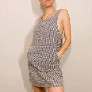 Vintage 90s Black Gingham Pocket Mini Dress
